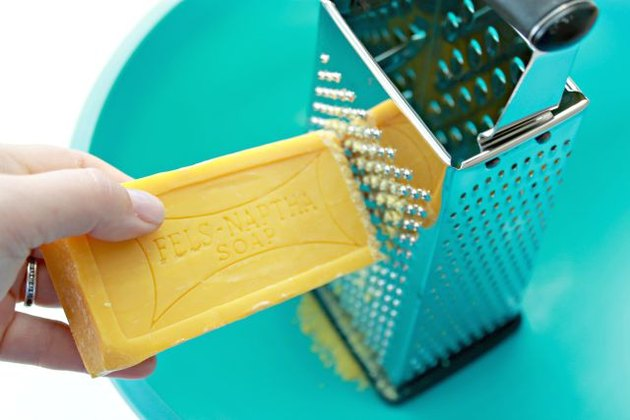 Fels Naptha being grated with cheese grater