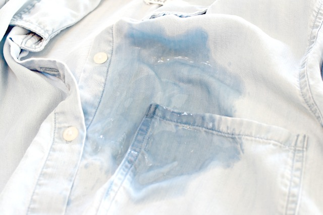 wet spot on denim shirt