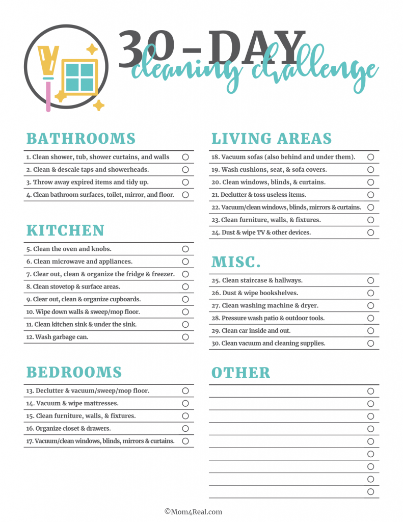 30 Day Cleaning Challenge Checklist Printable