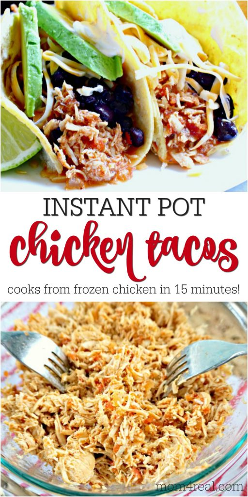 Instant Pot Shredded Chicken Tacos from Frozen in 15 Minutes