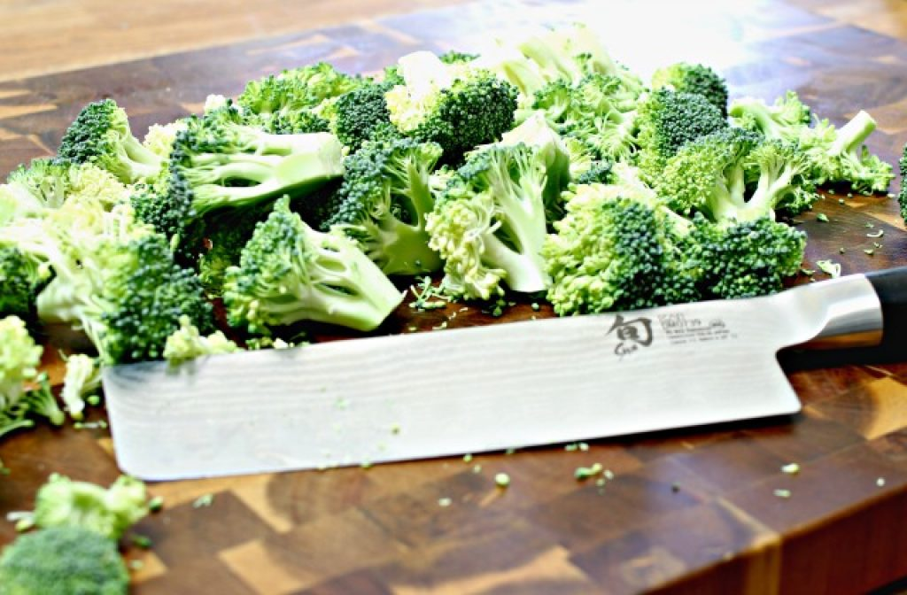 chopped-broccoli with Shun knife