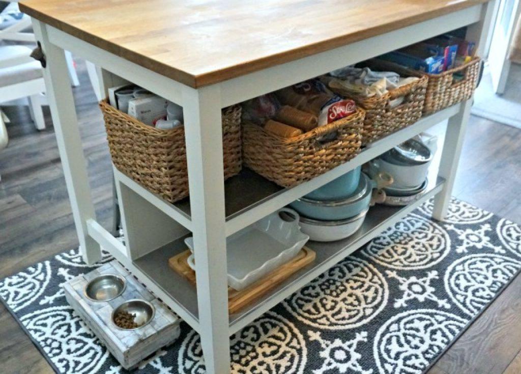 kitchen island with basket storage