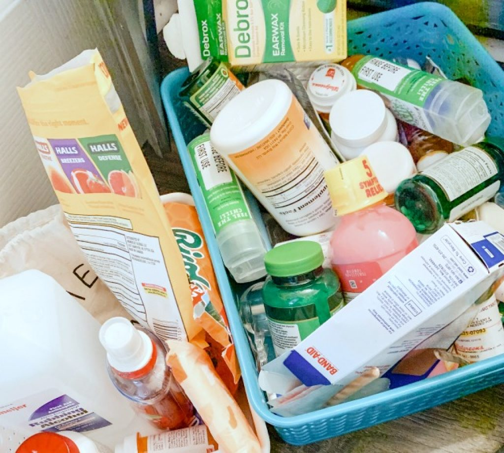 medications tossed in bins