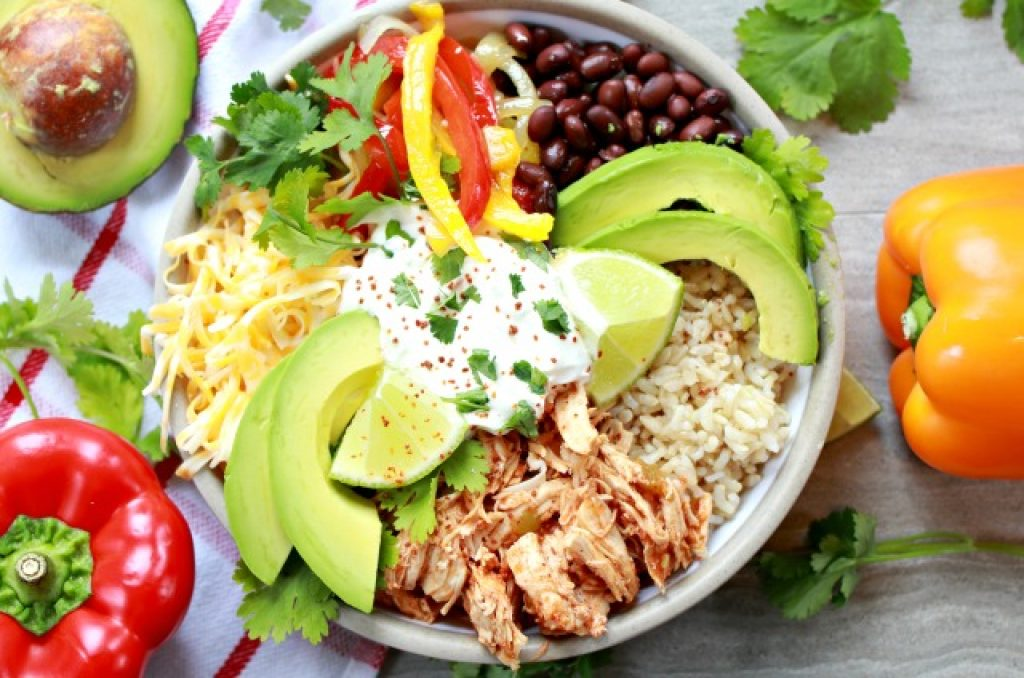 shredded chicken taco bowl