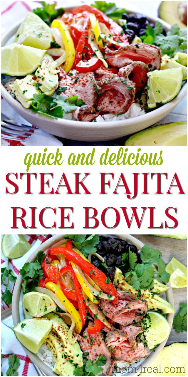 steak fajita rice bowls