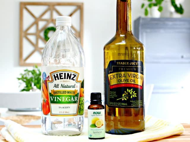 vinegar, olive oil and lemon essential oil