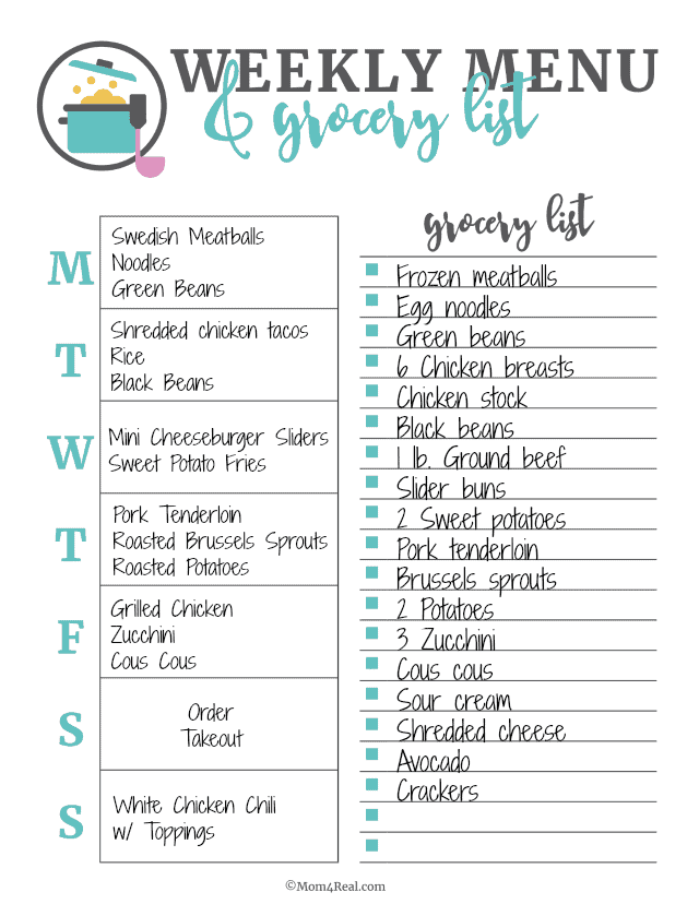 Sample Menu Plan and Grocery List from Mom4Real.com