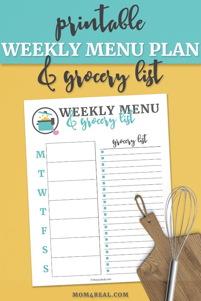 Printable Weekly Menu Plan and Grocery List