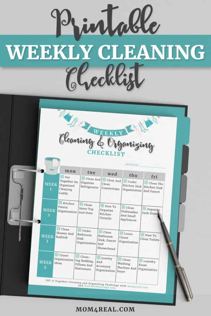 free printable cleaning and organizing checklist