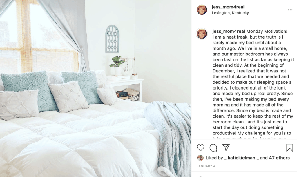 Instagram post from jess_mom4real about making your bed daily